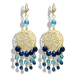 Dangling earrings with capri tassels of Bohemian crystal beads - Clip - Jewelry