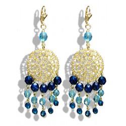 Boucles d'oreilles pendantes avec pampilles de perles capri en cristal de Bohème - Clips - Bijoux
