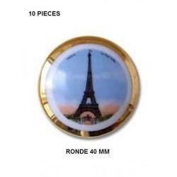 copy of 1 PLAQUE PORCELAINE LIMOGES 40 MM TOUR EIFFEL