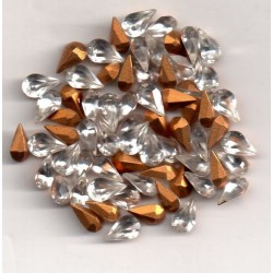 20 POIRES STRASS ARTICLE 4300/2 - 6X3.6 CRISTAL
