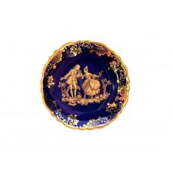 Petite Assiette en Porcelaine de Limoges Bleu de Four Décor Fragonard