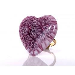 Bague coeur murines en cristal de Murano d'Ercole Moretti