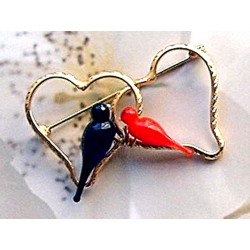 Broche Duo Colombine Noir et Rouge