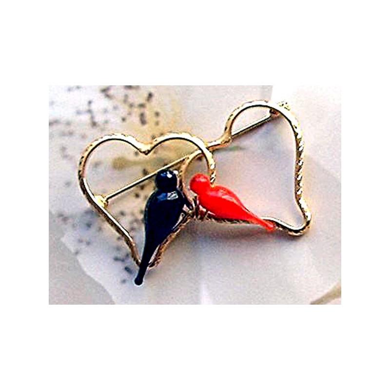 Broche Duo Colombine Noir et Rouge