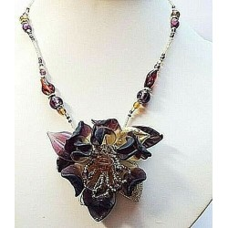 FULLY HANDMADE ORCHID PENDANT NECKLACE