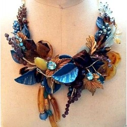 HANDMADE AMBER TURQUOISE - TURQUOISE FLOWER AND LEAF NECKLACE COLLAR