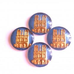 5 NOTRE DAME DE PARIS DECORATION GLASS PATTERNS BLUE GOLD BACKGROUND 18 MM