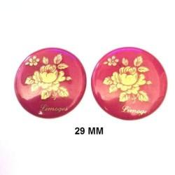 2 LIMOGES PORCELAIN PLATES 29 MM PINK DECORATION ON PURPLE BACKGROUND