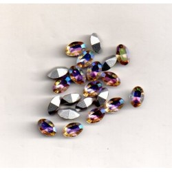 10 STRASS OVALES - ART 4100 - 4X6 - AURORE BOREALE