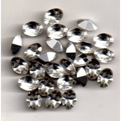 10 STRASS OVALES - ART 4100 - 7x5 - CRISTAL ARGENT