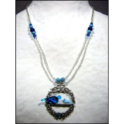 TWO DOVE CRYSTAL PENDANT NECKLACE IN BLUE TONE