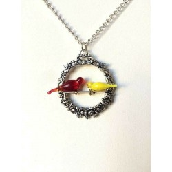 TWO DOVE TOPAZ CRYSTAL NECKLACE