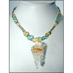 YELLOW GRAPE-MOTIF CRYSTAL CRYSTAL NECKLACE