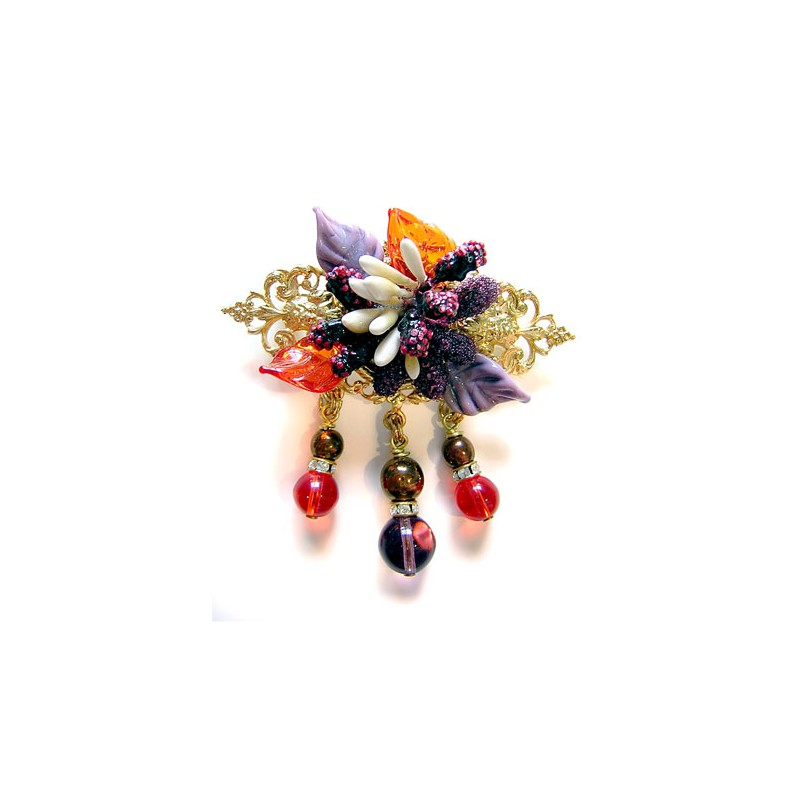 Broche fleurs améthyste - Broches - Accessoires de mode