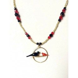 BLACK AND RED CRYSTAL COLOMBES CHOP NECKLACE ON SWING