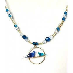 TURQUOISE CRYSTAL COLOMBES CHANNEL NECKLACE ON SWING