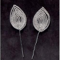 2 DECORATIVE SHEETS IN MIYUKI PEARL silver 2.5X1.5 cm