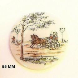 1 LIMOGES PORCELAIN PLATE 55 MM DECOR 1900 CALECHE