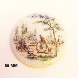 1 LIMOGES PORCELAIN PLATE 55 MM DECOR 1900 WITH BICYCLE