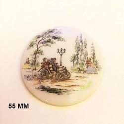 1 LIMOGES PORCELAIN PLATE 55 MM DECOR 1900 IN THE CAR