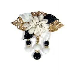 Broche fleurs blanche et noire - Broches - Accessoires de mode