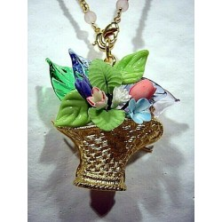 BROOCH NECKLACE BASKET LEAVES AND FLOWERS IN PORCELAIN AND CRYSTAL