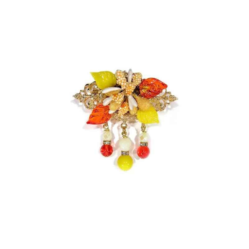 Broche fleurs orange - Broches - Accessoires de mode