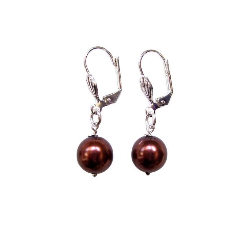 Boucles d'oreilles perle nacrée bronze