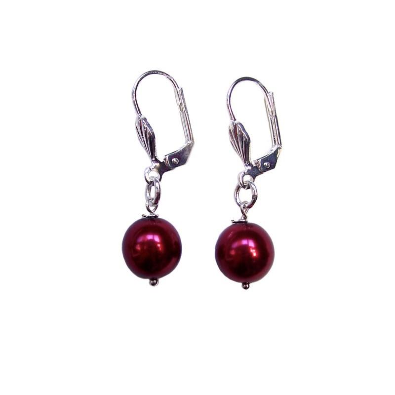 Boucles d'oreilles perle nacrée grenat