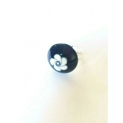 ROUND CABOCHON RING BLACK CRYSTAL 20 MM ADJUSTABLE