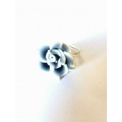PINK FLOWER CABOCHON RING IN RESIN ADJUSTABLE RING
