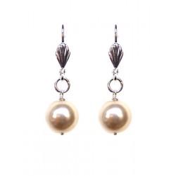 Boucles d'oreilles perle nacrée ivoire