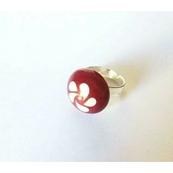 ROUND CABOCHON RING 20 MM RED CRYSTAL ADJUSTABLE