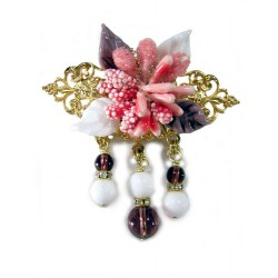 Gilded copper pink flowers pin with crystal, glass and Swarovski crystal rhinestones - Pins - Brooches - Fashion Accessories