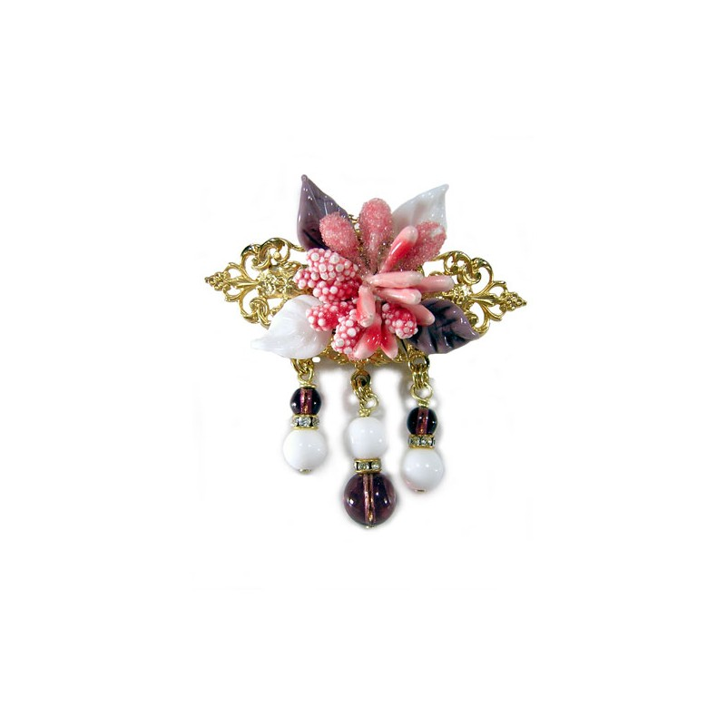 Broche fleurs rose - Broches - Accessoires de mode