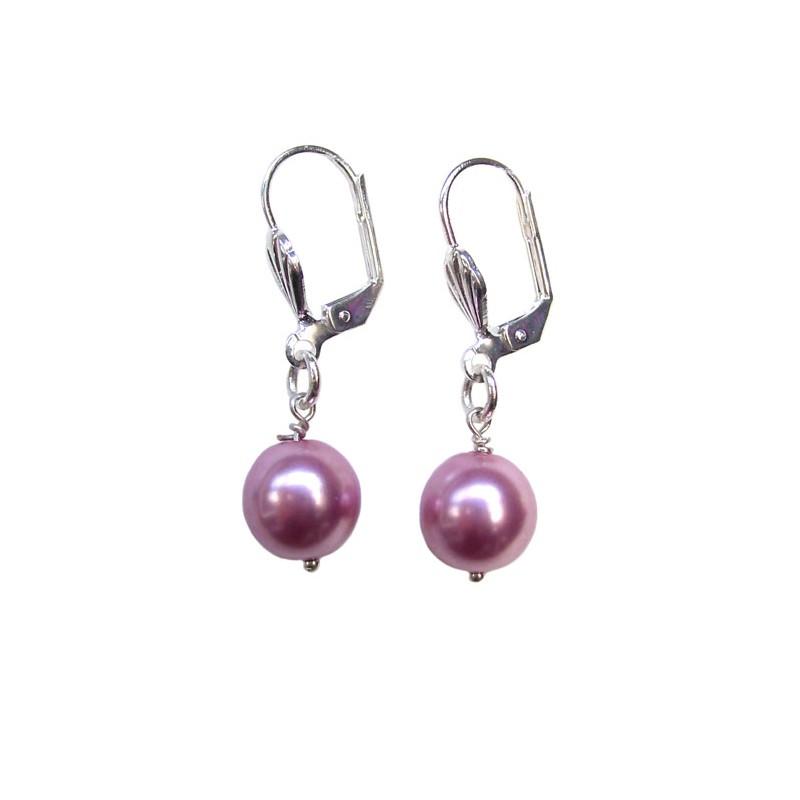 Boucles d'oreilles perle nacrée roses