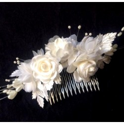 PINK HAIRDRESSING COMB IN FABRICS AND PEARL PEARL