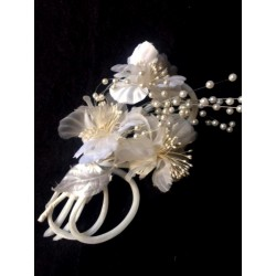 PINK BUTTON BROOCH IN FABRICS AND PEARLS SPECIAL WEDDING