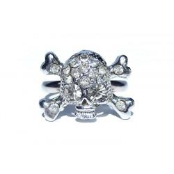 Bague tête de mort en cristal de Swarovski - Bagues strass - Bijoux