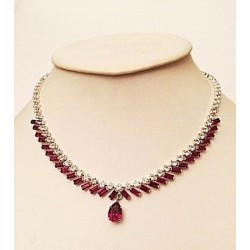 RUBY CRYSTAL PEAR AND BAGUETTE CHANNEL RHODIUM FINISH