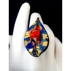 Bague langue en cristal de Murano avec feuille d'argent ou feuille d'or