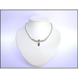 CRYSTAL AND RUBY PEAR AND RHINESTON CRYSTAL RHODIUM FINISH