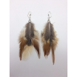 LARGE BROWN FEATHER EARRING CLIPS OR PIERCED EARS TO BE SPECIFIED
