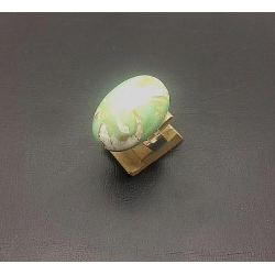 CABOCHON OVAL CRYSTAL RING 18X25 MM ADJUSTABLE PALE GREEN