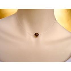 Collier de mariée avec une perle en verre sur fil invisible - Colliers de mariage - Bijoux
