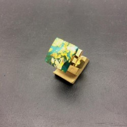 SQUARE FLAT CRYSTAL RING 16X16 MM GREEN