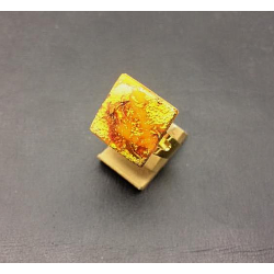SQUARE FLAT CRYSTAL RING 16X16 MM ORANGE
