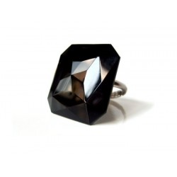 SQUARE CABOCHON RING 30X30 MM BLACK CRYSTAL