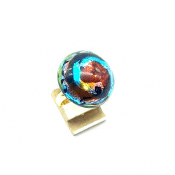 ROUND CRYSTAL FROM FRANCE RING 20 MM MULTI TONE GOLD AND SILVER