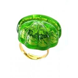 Bague coquillage en cristal de France et feuille d'or